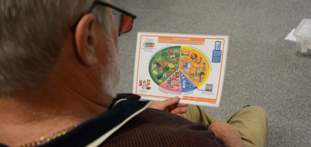 Diabetes Session, man with food card, Meridian Leisure Centre, Louth, Lincolnshire