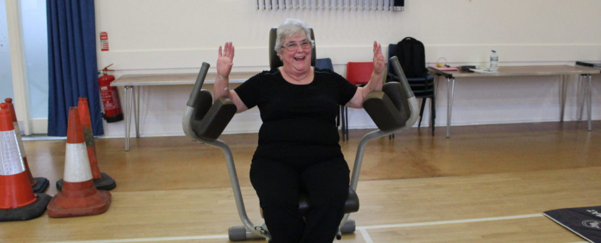 Lady on Resistance Machine, Virtual Gym, Franklin Hall, Spilsby, Lincolnshire