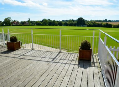 View the cricked from comfort on the balcony at London Road Pavilion, Louth Lincolnshire