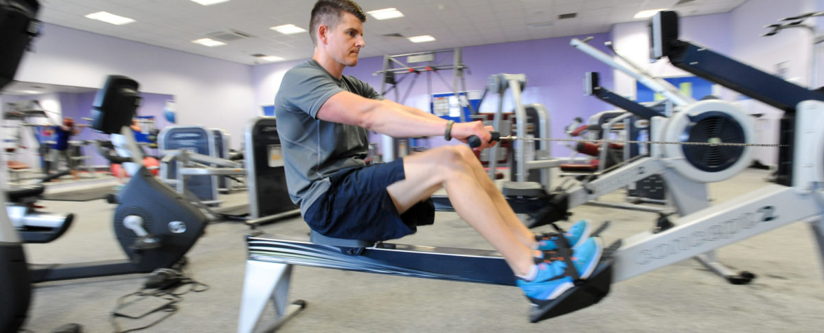 Man, Rowing Machine, Gym, Meridian Leisure Centre, Louth, Lincolnshire
