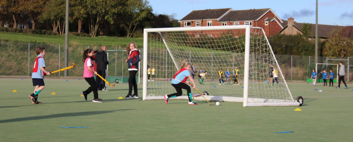 A goal being score at London Road Pavilion, Louth Lincolnshire Hockey Astroturf