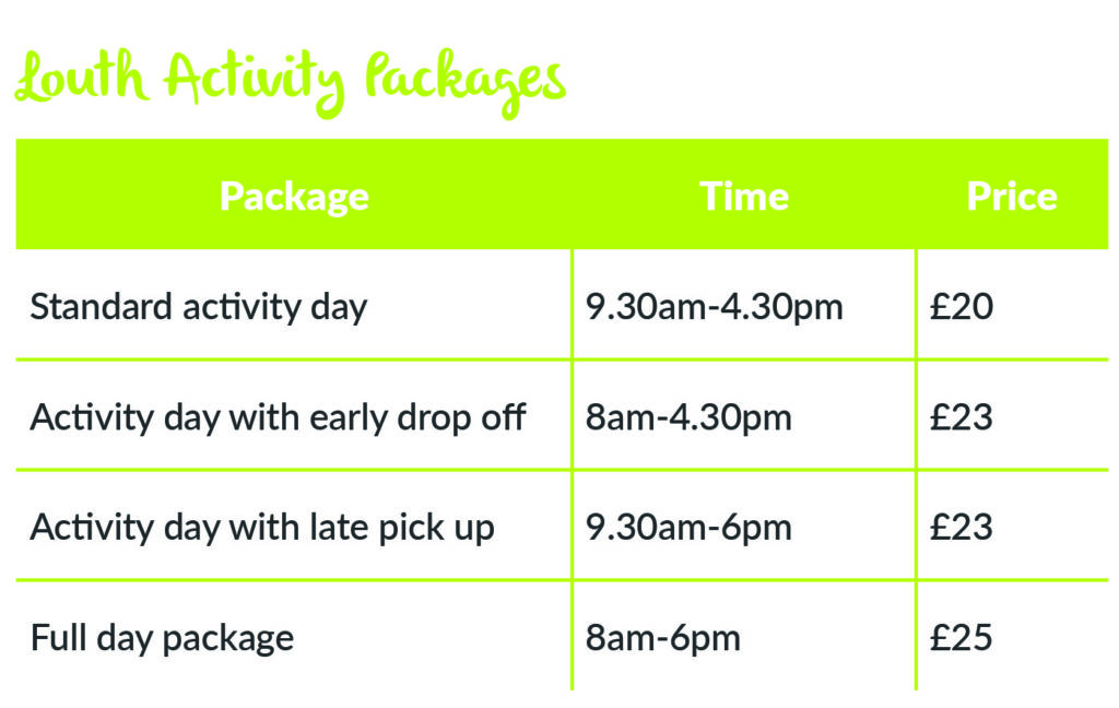 Louth Holiday activity day package