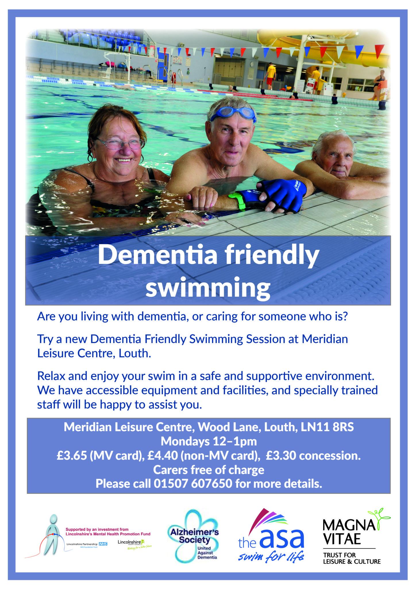 dementia friendly swimming poster